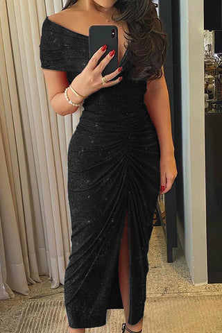 Black Ruched Slit Off Shoulder Glitter Dress