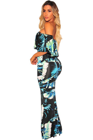 Black Green Leaf Print Off Shoulder Dress