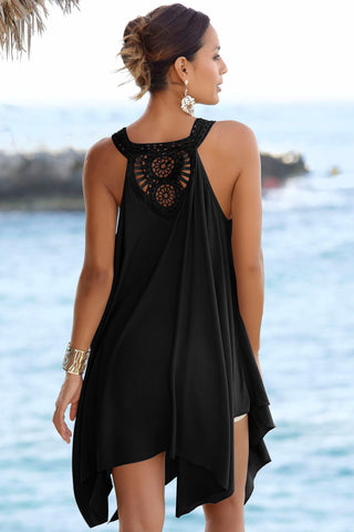 Black Back Crochet Sleeveless Beach Dress
