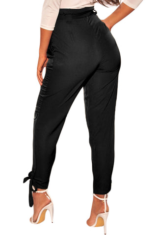 Black High Waist Belted Tie Up Pants