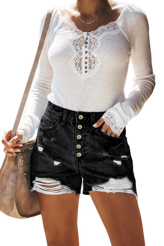 Black High Waist Distressed Denim Shorts
