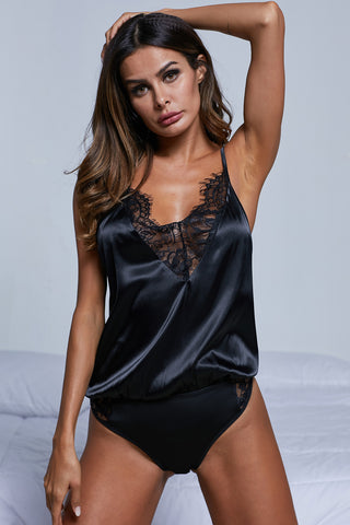 Black Deep Neck Intimates Bodysuit