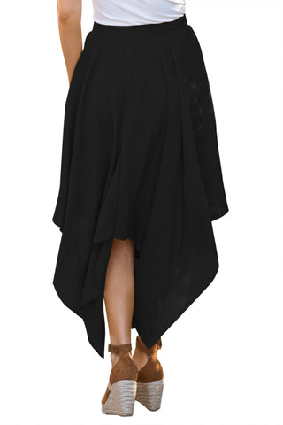 Black Irregular Hemline Midi Skirt