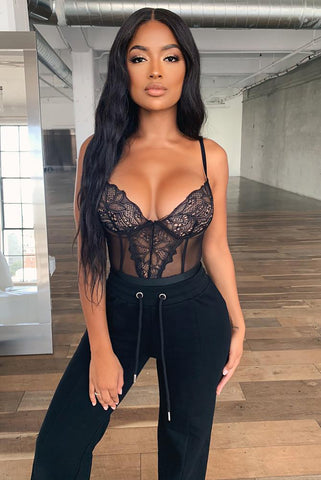 Black Mesh Scoop Neck Lace Bodysuit
