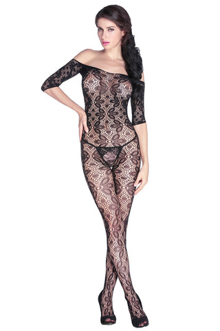 Black Floral Body Stockings