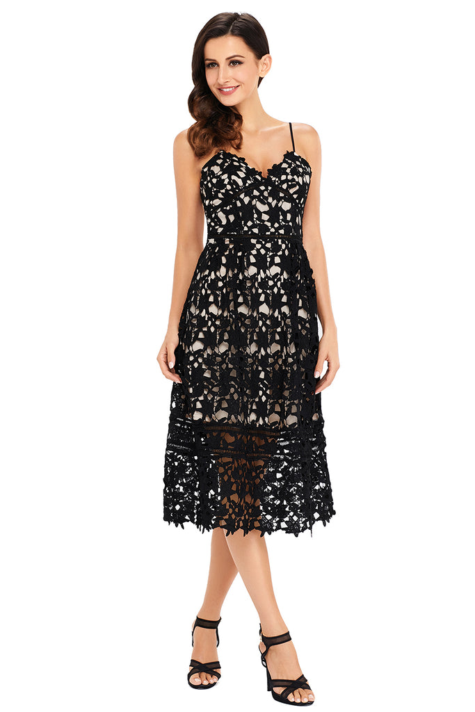 Buy Black Lace Hollow Out Dress Online India - Boldgal.com