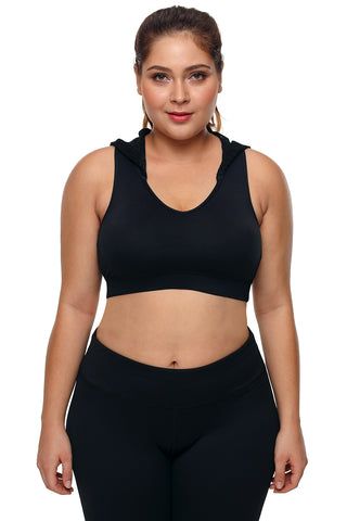Black Hooded Lace Racerback Sports Bra