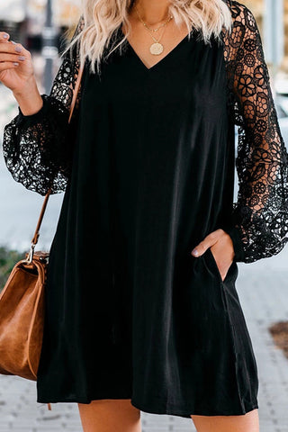 Black Long Sleeves Lace Shift Short Dress
