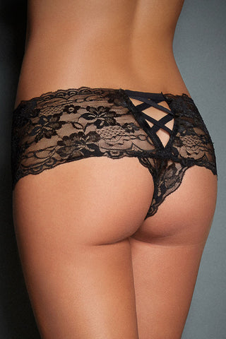 Black Naughty Floral Lace Boy Short