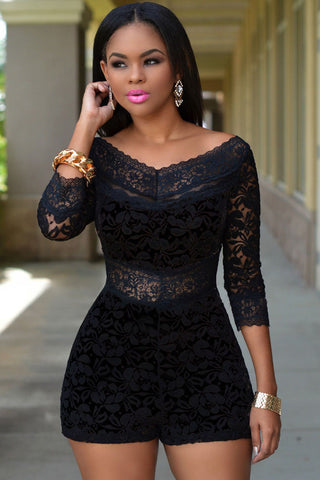 Black Overlay Lace Fashion Club Romper - Boldgal.com