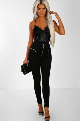 Black V Neck Sleeveless Lace Bodysuit