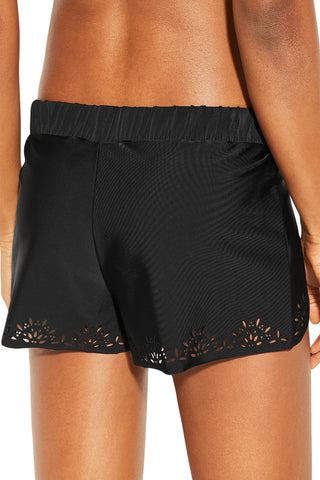 Black Laser Cut Swim Shorts