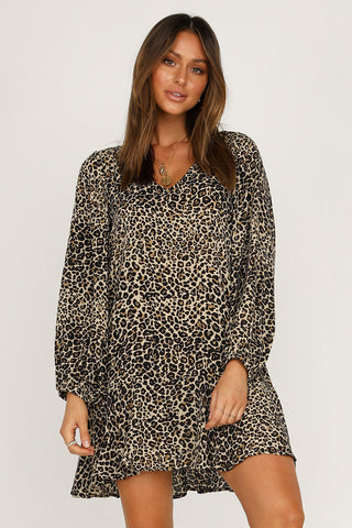 Black Leopard Print Long Sleeves Short Dress