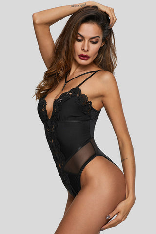 Black Lace Deep Neck Bodysuit