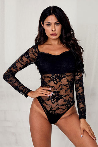 Black Long Sleeves Lace Bodysuit