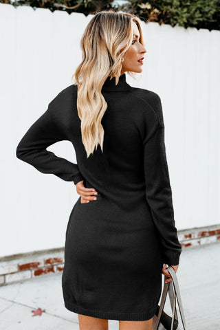 Black High Neck Pullover Sweater Dress
