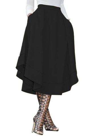 Black Flare High Waist Midi Skirt
