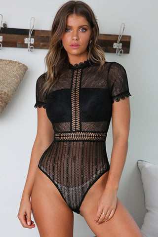 Black Heart Melted Short Sleeves Bodysuit