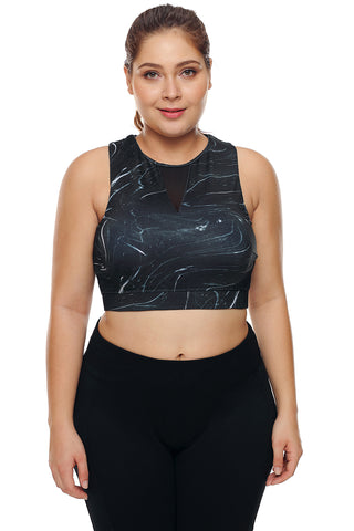 Black Print Mesh High Neck Sports Bra