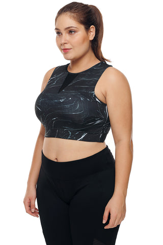 3e3ed1f44bdb3 ... Black Print Mesh High Neck Sports Bra