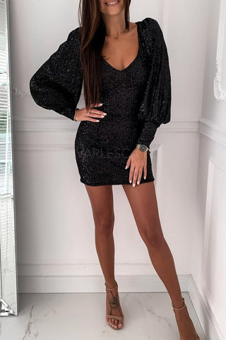 Black Puffy Sleeves Metallic Sequin Dress