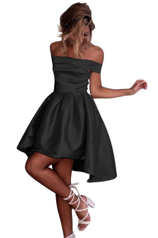 Black Off Shoulder Pleated Dress
