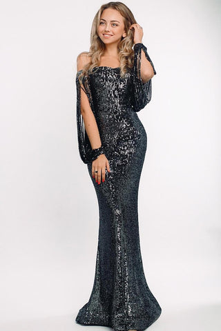 Black Off Shoulder Sequin Tasseled Sleeve Gown