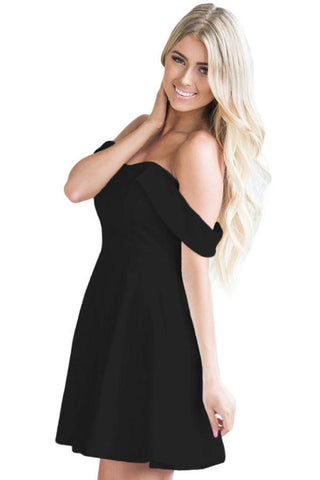 Black Off Shoulder Flare Mini Dress