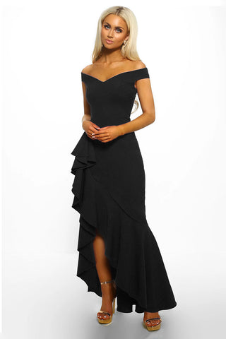 Black Off Shoulder Frill Long Dress