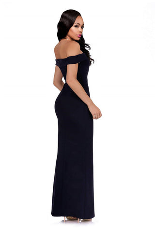 Black Off Shoulder Cap Sleeve Long Dress