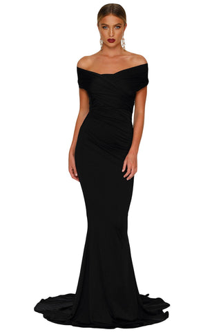 Black Off Shoulder Evening Gown