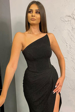 Black One Shoulder Slit Metallic Gown