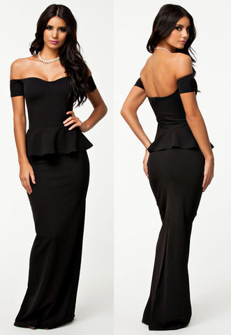 Black Peplum Party Western Evening Dress - Boldgal.com