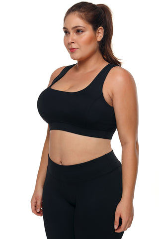 Black Racerback U Shaped Sports Bra