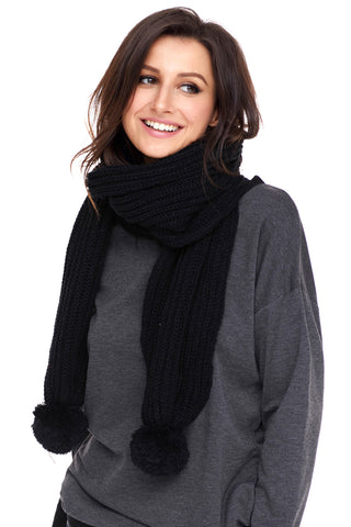Black Ribbed Knit Long Scarf