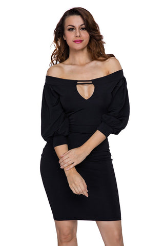 Black Slim Off-shoulder Partywear Midi Dress