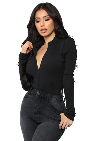 Black Long Sleeves Beyond Time Bodysuit