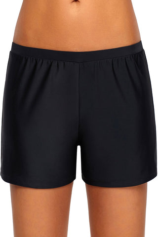 Black Retro Swim Bottom Short
