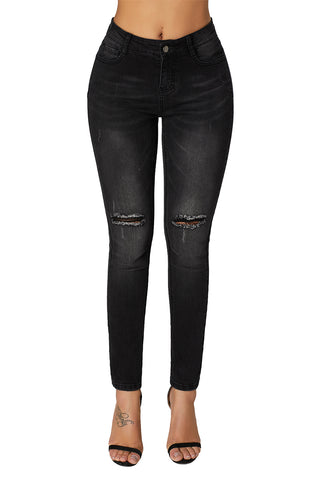 Black Cutout Knee Denim Ripped Jeans