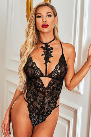 Black Deep Neck Roses Lace Teddy