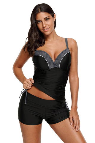 Black Side Ties Ruched Beach Top