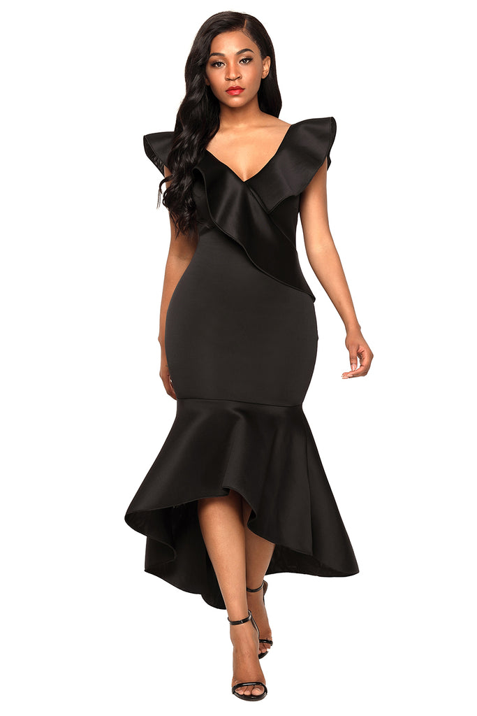 Buy Black Ruffled Mermaid Party Dress Online India - Boldgal.com