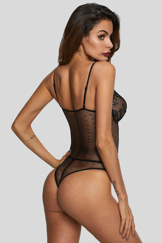 Black Deep Neck Lace Hollow Out Bodysuit