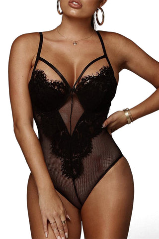 Black Eyelash Sheer Lace Bodysuit