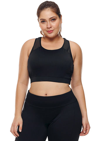 Black Mesh Sheer Sports Bra