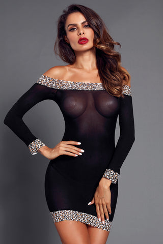 Black Leopard Mesh Off Shoulder Babydoll