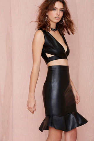 Shiny Leather Sleeveless Top & Skirt Set - Boldgal.com