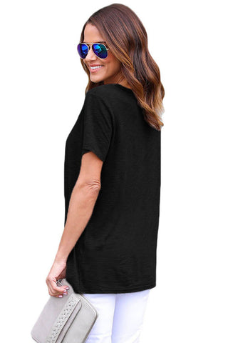 Black Lace up Cotton Top