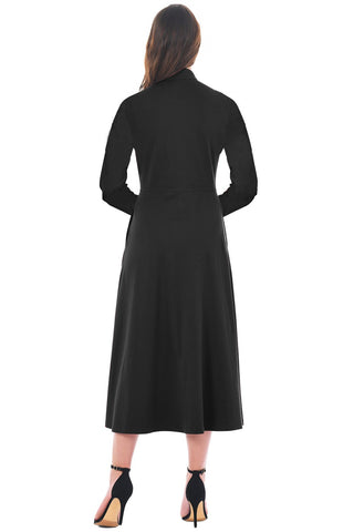 Black Side Button Collar Neck A-line Dress