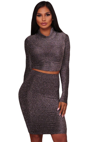 Black Shimmer Cowl Neck Two Piece Set